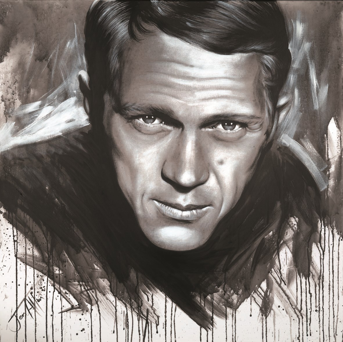 Steve McQueen by Jen Allen -  sized 14x14 inches. Available from Whitewall Galleries